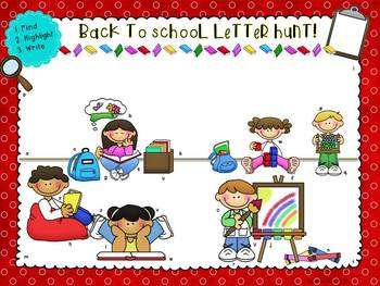 Back to School Letter Hunt FREEBIE!