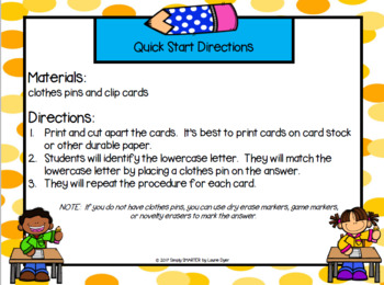 Back to School Letter Matching:  LOW PREP  Lowercase Letters Clip Cards