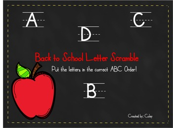 Back to School Letter Scramble - ABC order