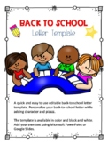 Back-to-School Letter Template