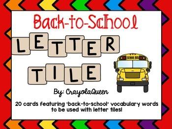 Back-to-School Letter Tile Cards