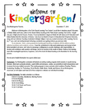 Back to School Letter - Welcome to Kinder theme - Editable