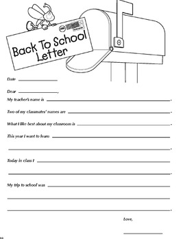 Back to School Letter Writing Template Grades K-3