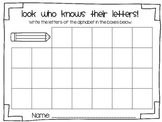 Back to School Letter and Number Assessment