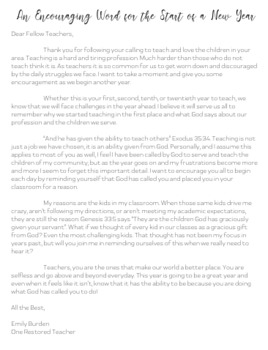 Back to School Letter for Teachers
