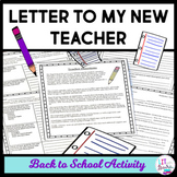 Back to School Letter to Your New Teacher