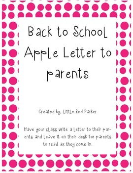 Back to School Letter to Parents