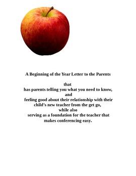 Back to School Letter to Parents: Relationship Builder & C