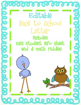 Back to School Letter with Student Info Card and Math Riddles