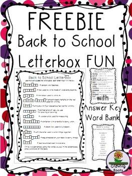 Back to School Letterbox Fun FREEBIE!