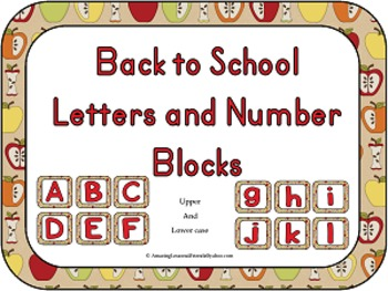 Back to School Letters and Number Blocks