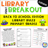 Back to School Library Orientation - PRINT Breakout Gr. 2/3