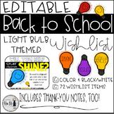 Back to School Light Bulb Themed Classroom Wish List {Editable}