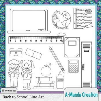 Back to School Line Art and Digital Stamps