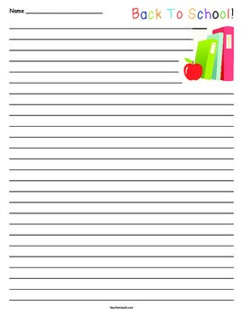 Back to School Lined Paper