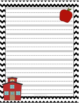 Back to School Lined Writing Paper Set of 4