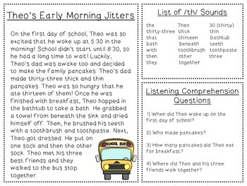 Back to School Listening Comprehension and Articulation Pack