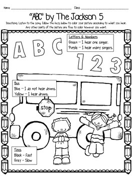 "Back to School Listening Glyph FREEBIE - ""ABC"" by The Jackson 5"