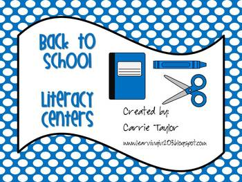 Back to School Literacy! - 6 Literacy Centers