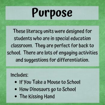 Back to School Literacy Bundle for Special Education