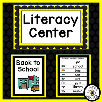 Back to School Literacy Center with Printable Activities