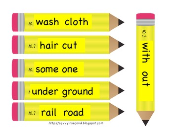 Back to School Literacy Center: Pencil Compound Words