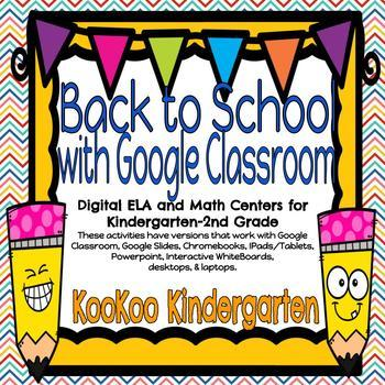 Back to School Literacy & Math Activities for Google Classroom