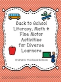Back to School Literacy, Math and Fine Motor Activities {A