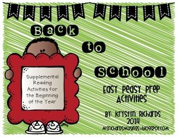 Back to School Literacy Quick Print Activities