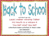Back to School Literature Based Activities
