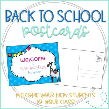 Back to School Llama Welcome Postcards from Teacher (Editable!)