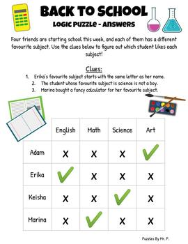 Back to School Logic Grid Puzzle!