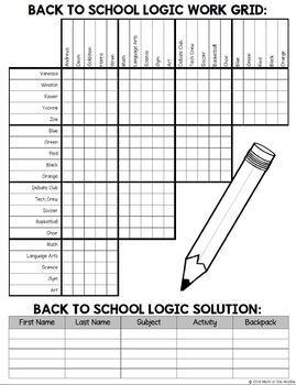 back to school logic puzzle for middle school beginning. Black Bedroom Furniture Sets. Home Design Ideas