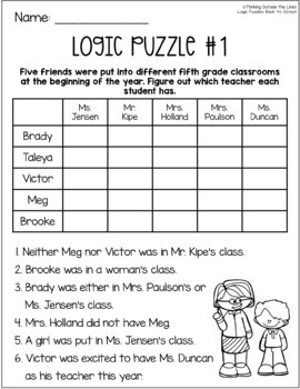 Back-to-School Logic Puzzles