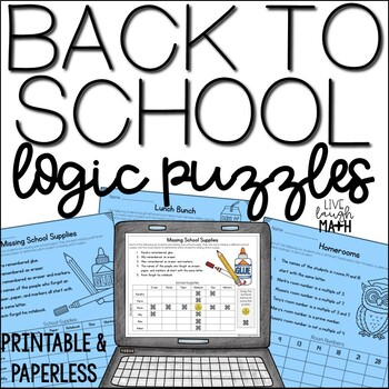 Back to School Logic Puzzles FREE by Live Laugh Math | TpT