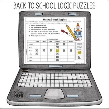 back to school logic puzzles free by live laugh math tpt. Black Bedroom Furniture Sets. Home Design Ideas
