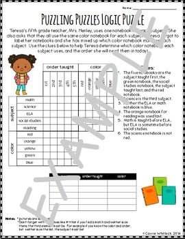 Back to School Logic Puzzles - FREE