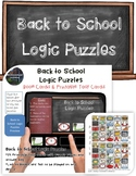 Back to School Logic Puzzles Printable Task Cards & Interactive Boom Cards