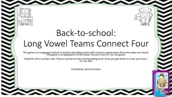 Back-to-School Long Vowel Connect Four Game