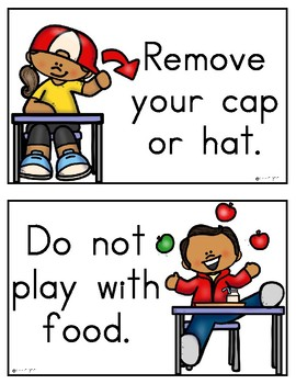 School Lunchroom/Cafeteria Rules Posters