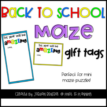 Back to School MAZE Gift Tags