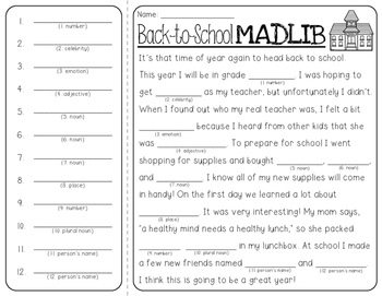 Back-to-School Mad Lib