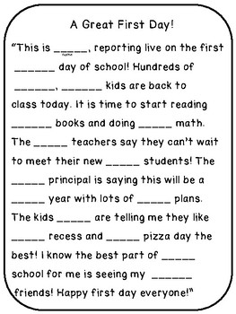 Back to School Mad Lib Adjective Game