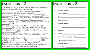 Back to School Mad Libs: Fun for ALL Ages!