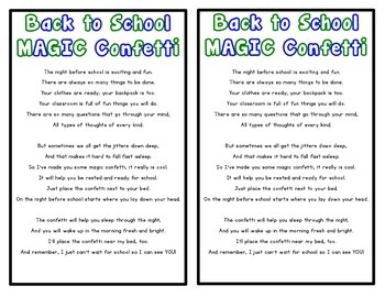 Back to School Magic Confetti Poem {Free Download}