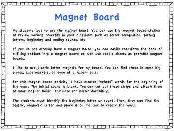 Back to School Magnet Board