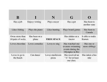 Back to School Making Friends Bingo