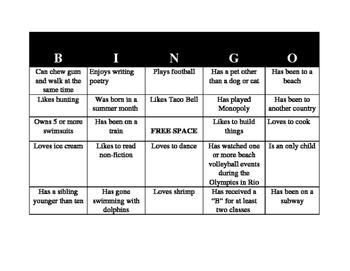 Back to School Making Friends Bingo Card