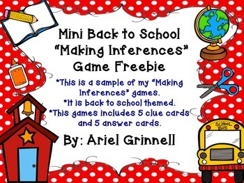 "Back to School ""Making Inferences"" Mini Game Freebie"