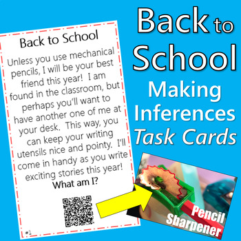 Making Inferences Task Cards with QR Codes {School Theme}